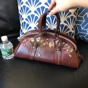 Authentic DIOR Embroidered Leather Satchel